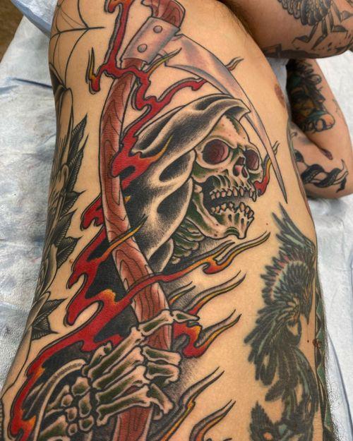 Grim Reaper  #traditionaltattoo #armtattoo #grimreaper #colortattoo