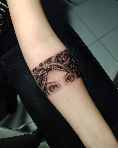 Medusa  #realismtattoo #blackandgrey #portrait #medusatattoo #armtattoo