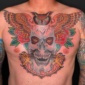 Skull & Owl chest piece  #traditional #colortattoo #traditionaltattoo #chesttattoo #owltattoo #skulltattoo