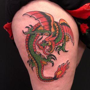 Dragon #traditionaltattoos #dragontattoos #colortattoos #thightattoo