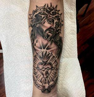 Jesus and the sacred heart  #traditional #blackandgrey #jesustattoo #hearttatoo #armtattoo