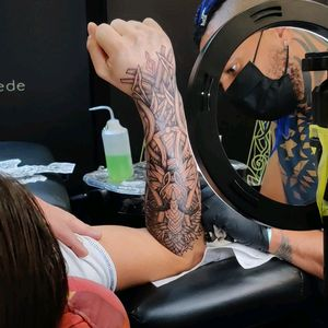 Nordic viking tattoo process by nicolasyede at Lille Tattoo Convention 2021. Work with Barberdts France