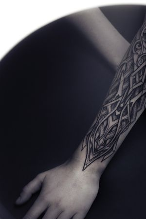 Incredible armor neo viking tattoo by Nordic artist nicolasyede from France