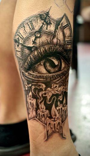 Realistic eye abstract piece! #eyetattoo #candletattoo #clocktattoo #abstracttattoo #surrealismtattoo #blackandgreytattoo #staugustinetattooartist #floridatattooartist #inkedlife #tattooedlife #tattooart #tattoos #tattoolovers