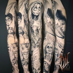 Finished the Tim Burton sleeve I was working on