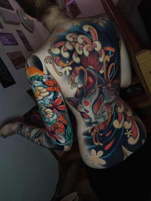 One session left of this project ♥️  #tondriktattoo #ucernekotvy #haku #kitsune #backpiece #tattoosleeve #DONOTCOPY