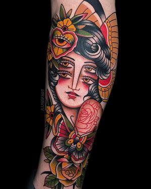 Four Eyed Lady #traditionaltattoo #eyes #colortattoo #flowertattoo #armtattoo