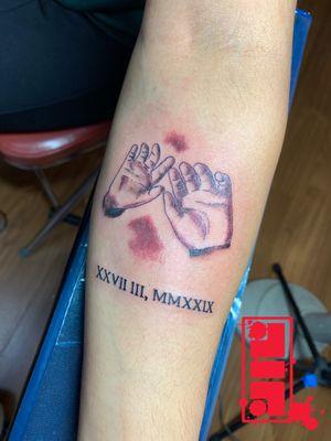 Baby hands & birthdate on client…#punjabitattoos #familytattoos #byjncustoms