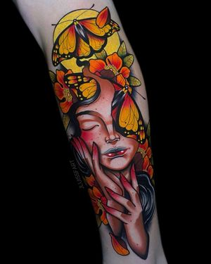 Butterfly Girl #colortattoo #butterfly #neotraditionaltattoo #armtattoo