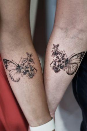 Friendship 🦋 #matchingtattoo #fineline #singleneedle #butterflytattoo