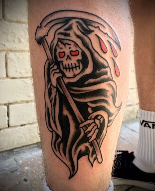Super rad #traditional #tattoo that @diehonest did recently👌🏼 • Walk Ins welcome everyday info@kakluckytattoos.com or DM us for booking enquiries☺️ • #tattoos #capetown #kakluckytattoos #kaapstad #420 #art #boldwillhold #traditionaltattoo #reaper #capetowntattoo