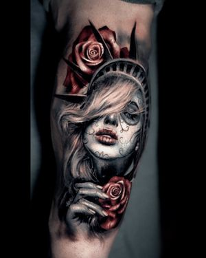 Amazing Lady Liberty by Darwin Enriquez at inknationstudio book your next session with us!!