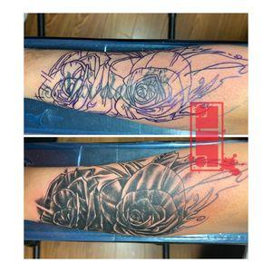Coverup of name tattoo…#coveruptattoos #rosetattoos #surreytattooartist #vancouverink #byjncustoms
