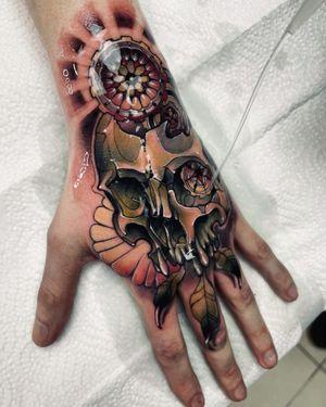 Skull for Charlie Done during full day session! I am the artist based in London, UK saint.wandal@gmail.com #skull #skulltattoo #tattooskull #skulls #neotraditionalskull #neotraditionaltattoo #colortattoo #colorneotraditional #handtattoo #fisttattoo #tattoosformen #tattoosforwomen #fullhand #londontattoo #tattoos #tattoodo #tattoocolor #skulltatt #wandaltattoo