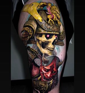 Amazing samurai warrior skull by Zhimpa Moreno book your next tattoo character with the best Artist in NYC