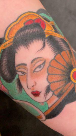 Geisha and cherry blossom arm band