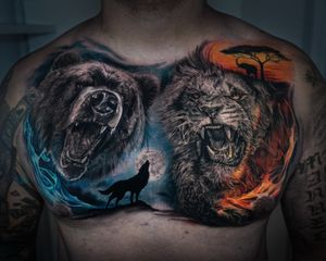 Impressive chest piece by Andrés Makishi at inknationstudio book now your next tattoo project !!!