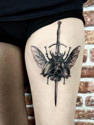 Beetle Sword, personal design of mine. #dotwork #occult #beetle