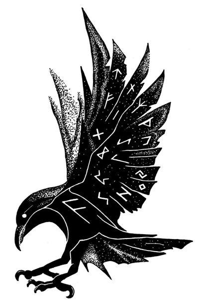 Norse Raven Runes #Raven #Viking #Runes #Norse #Nordic #Scandi #Bird #Odin #Thor #Norse #mythology #Hugginn #Muninn #Blackandwhite #Dotwork