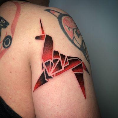 Deckard's Dream... Happy to meet and tattoo someone whom I can share huge inspiration from the masterpiece with - Blade Runner (1982) in our mind ✨Thank you, Nicholas. #customtattoo #tattoo #artwork #unicorntattoo #bladerunner #origami #origamitattoo #tattoodesign #tattooideas #tattooer #tattooist #Berlin #berlintattooartists #berlintattooers #bruxelles #brusselstattoo #tattoodo #tttism #thinkbeforeuink #tattooed #inked #blackandredtattoo #blackouttattoo #blackworkers #tattooworkers #geometrictattoo #illustration #deckardsdream #change #detailshot
