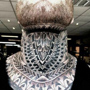 Geometric Tribal full throat tattoo