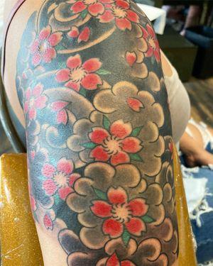 Sakura Half sleeve #sakura #halfsleeve #cherryblossoms #jfztattoo #japanesetattoos #seattletattoos #seattletattooers