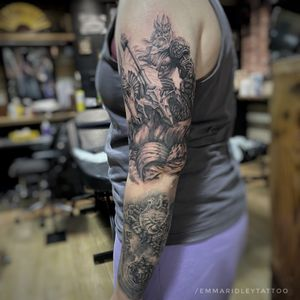Poseidon riding a Hippocampus into battle. This is still progress as an addition to this Greek sleeve.  #greekmythtattoo