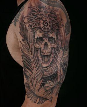 💀 (snake and bird not by me) #nyc #nyctattoo #nyctattooartist #brooklyn #manhattan #eastvillage #blxckink #btattoo #btattooing #skull #tattoo #armtattoo #dctattoo #aztectattoo #aztecinspired #dmvtattoo #mdtattooartist #linework #darkartists #skulltattoo #newyorktattooartist #blxckwork #appointmentsavailable