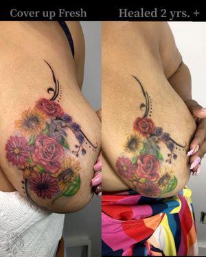 #foraltattoo #coverup #rose #sunflower #lilies #daisy #colortattoo #womentattoo #breasttattoo
