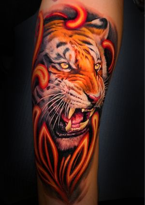 Realism tiger done by Zhimpa Moreno book your next session!!