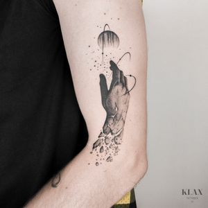 Hand / Space / Cosmos / Planet Tattoo Dotwork