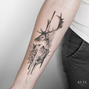 Stag / Animal / Doe / Landscape / Nature Tattoo Dotwork