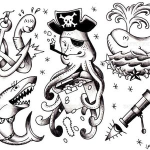 #customtattoo #tattooflash #blackandgrey #nautical