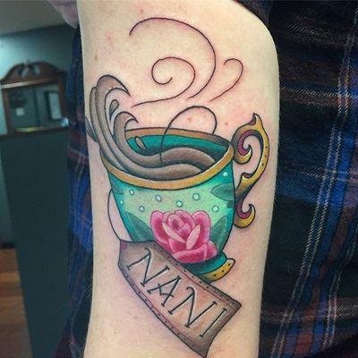 Teacup by elisemj.art #teacup #tea #cup #teacuptattoo #neotraditional #cute