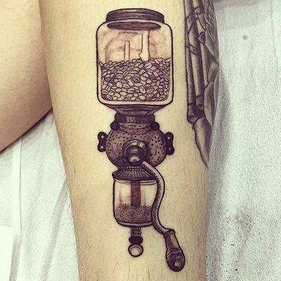 "Sick antique coffee grinder by Regina ""Push"" Estrada #coffee #coffeeegrinder #antique #blackandgrey #coffeebeans #castrotattoo #sanfrancisco #sftattoo"