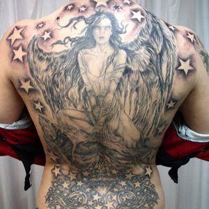 #backpiece #blackandgrey #angel #stars #religioustattoo #religious