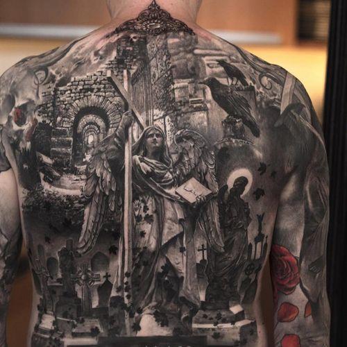 #angel #religioustattoo #religious #backpiece #cross by #NikiNorberg