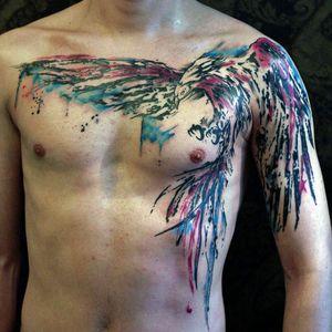 #watercolor #bird #feather #chestpiece #eagle
