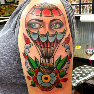 #Traditional #colorful #airballoon and #eyes tattoo by #DustyNeal