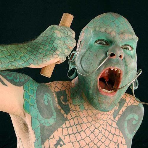 #lizardman #eriksprague #extremetattoos #bodymodification