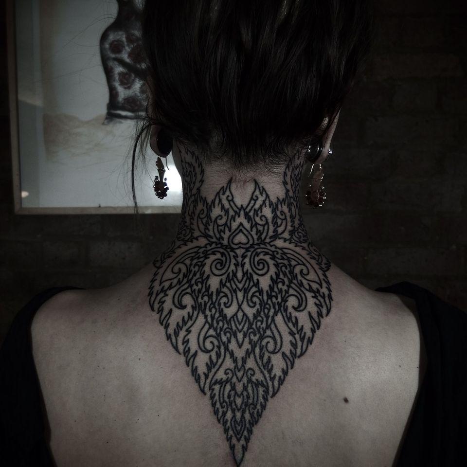 #necktattoo #backpiece #blackwork #decorative