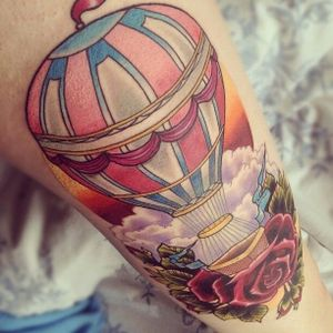 Amazing #colorful #airballoon and #roses tattoo