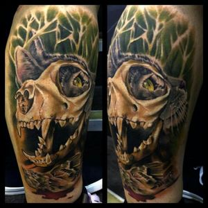 Cat and skull by Mark Bester and Paul Smith #markbester #paulsmith #color #colour #colorrealism #nature # #cats #wildcats #markedforlife #uktattoo #catskull #cat #skull #bird