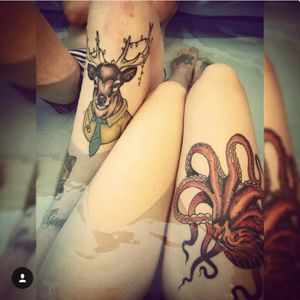 #Octopus on me & #stag in a suit with fairy lights on my boyfriend Both done by the AMAZING Luke McMillan @ Tattoo Central 👌 #legs #cute #animals #animalsinclothes #animalhead #girlswithtattoos #perth #Australia