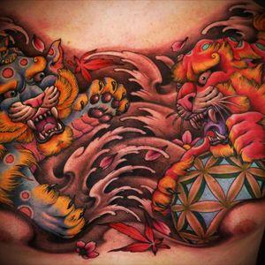 Fu dog chest piece by Nicklas Westin