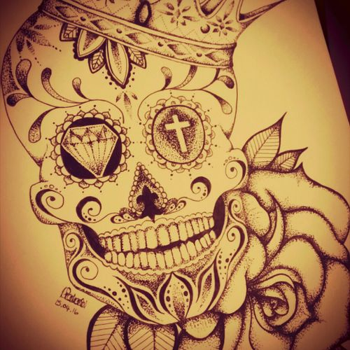 Just finished designing this for a friend, lucky for me he's a close friend who's happy to have matching tattoos 😂 I love it! #sugarskull #crown #rose #tattoodesign #blackAndWhite #dayofthedead #dotwork #dotstolines #skull #artwork