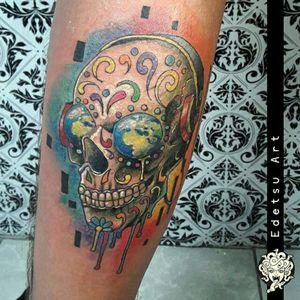 Crazy sugarskull #draw #art #tattoos #sugarskull #tattooartist #musicaltattoo #semiabstract