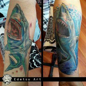 #shark #coverup #watertattoo #sealife