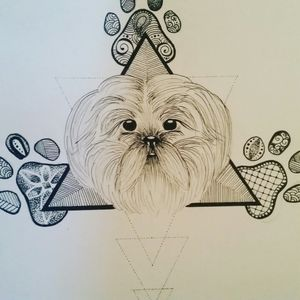 A design I drew for my Aunty who loves her Shihtzu's more than her kids 😂 #shihtzu #blackandgrey #tattoodesign #dogportrait #pawprints #dotwork #tattoo #art #sketchoftheday #design