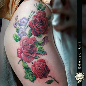 #rosestattoo #botanical #hummingbird #flowertattoo